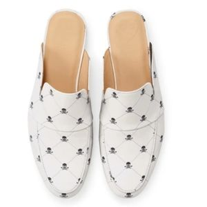 G/FORE White Leather Skull & Ts Slip On Mule Shoes